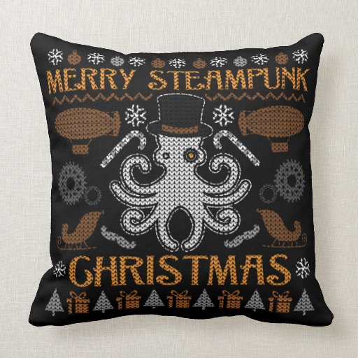 Merry Steampunk Christmas Octopus Top Hat Pillow