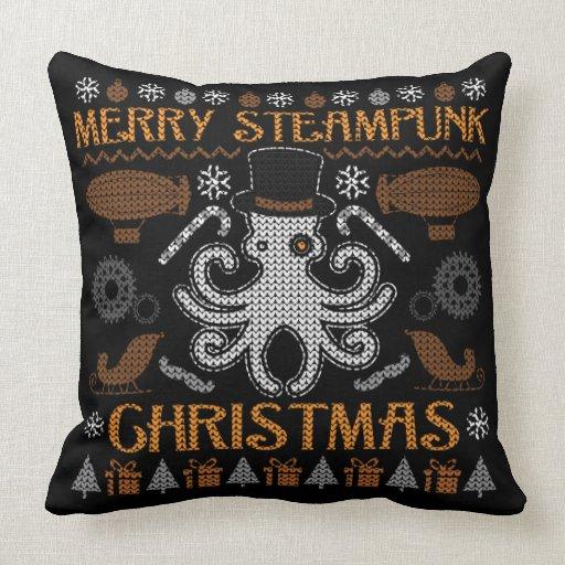 Merry Steampunk Christmas Octopus Top Hat Pillow