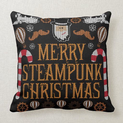 Merry Steampunk Christmas Ugly Sweater Pillow