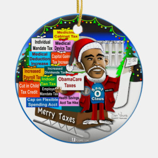 Merry Taxes Double-Sided Ceramic Round Christmas Ornament