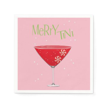 Beach Themed Merry-tini Merry Martini Holiday Party Napkins