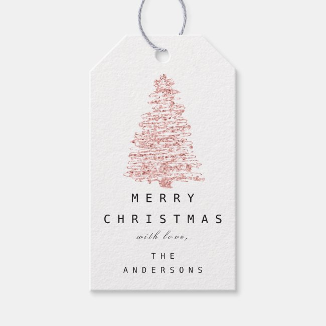 Merry To Name Holiday Christmas Tree Rose Blush Gift Tags