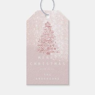 1c09123c3fa20 Merry To Name Holiday Christmas Tree Rose Snow Gift Tags