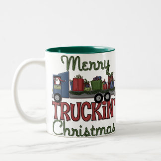 Merry Truckin' Christmas Two-Tone Coffee Mug