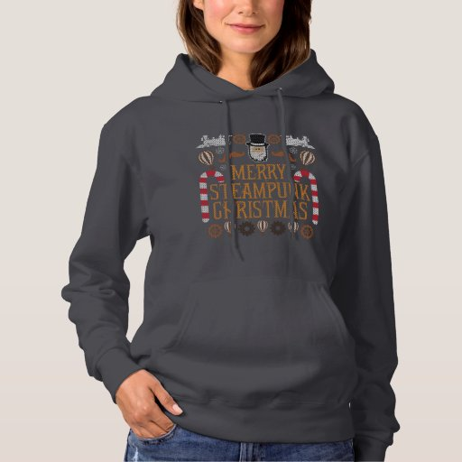 Merry Ugly Christmas Sweater Steampunk Hoodie