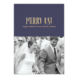 Merry Us! | Holiday Photo Card-Glitter & Navy Card