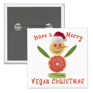 Merry Vegan Christmas 2 Inch Square Button