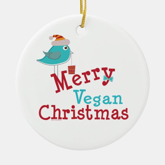 Merry Vegan Christmas Ceramic Ornament