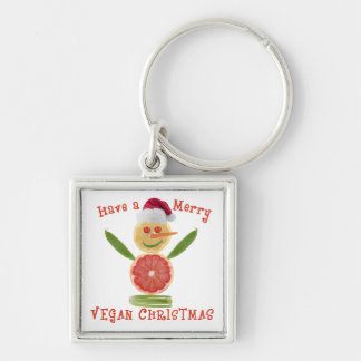 Merry Vegan Christmas Silver-Colored Square Keychain