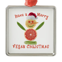 Merry Vegan Christmas Metal Ornament