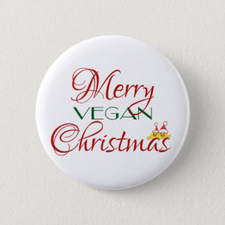 Merry Vegan Christmas Pinback Button