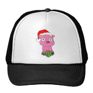 Merry Vegan Christmas Pink Pig Apparel Trucker Hat