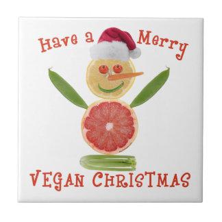 Merry Vegan Christmas Small Square Tile