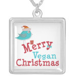 Merry Vegan Christmas Square Pendant Necklace