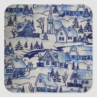 Merry Vintage Antique Christmas Holiday Village Square Sticker