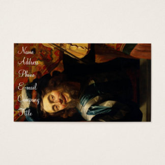 'Merry Violinist with Wine Glass' Business Card