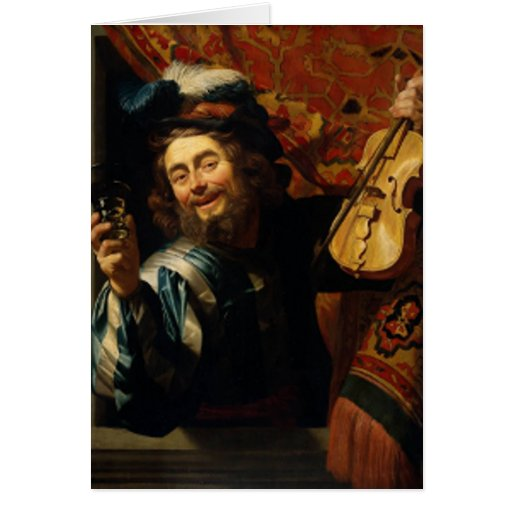 'Merry Violinist with Wine Glass' Card