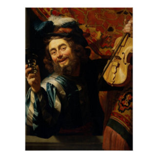 'Merry Violinist with Wine Glass' Poster