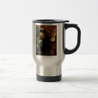 'Merry Violinist with Wine Glass' Travel Mug