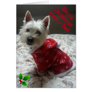 Merry Westie Christmas Card Mum & Dad