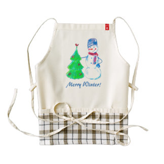 Merry Winter, Zazzle HEART Apron with cute Snowman