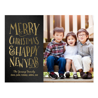 Merry Wishes Editable Color Holiday Photo Card Postcard