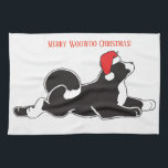 """Merry Woowoo Christmas Kitchen Towel<br><div class=""""desc"""">A festive Christmas kitchen towel featuring our MARS akita logo,  decked out for the holidays!</div>"""