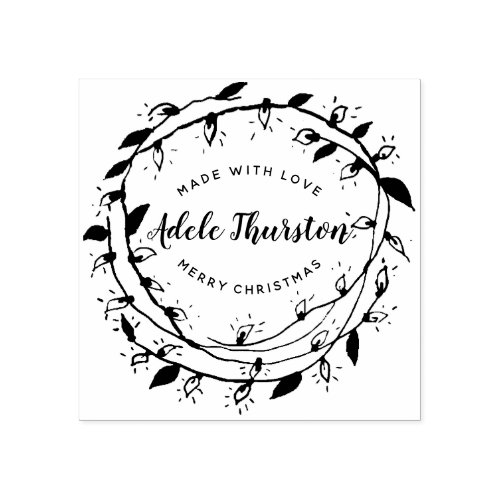 Merry Wreath  Made With Love  Personalized Rubber Stamp