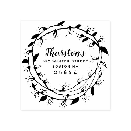 Merry Wreath  Return Address Rubber Stamp