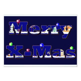 """Merry X-Mas azul Invitación 5"""" X 7"""""""