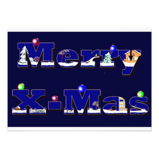 Merry X-Mas blue Custom Invite
