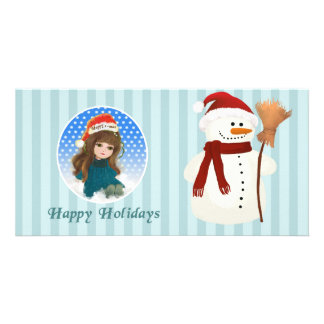 merry x-mas cartoon doll Photo Card