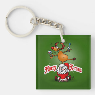 Merry X-mas from Santa Claus and his reindeer Keychain