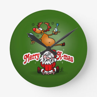 Merry X-mas from Santa Claus and his reindeer Round Clock