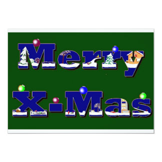 "Merry X-Mas green 5"" X 7"" Invitation Card"