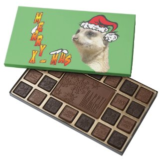 Merry X-mas Meerkat Santa Holiday Chocolates
