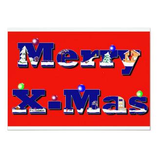 "Merry X-Mas red 5"" X 7"" Invitation Card"