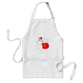 Merry X-Mas Snowman in Santa Hat Carrying Bag Adult Apron
