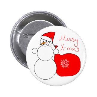 Merry X-Mas Snowman in Santa Hat Carrying Bag Buttons