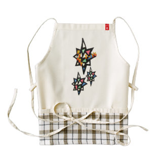 Merry X-mas Stars Stained Glass Pattern Apron