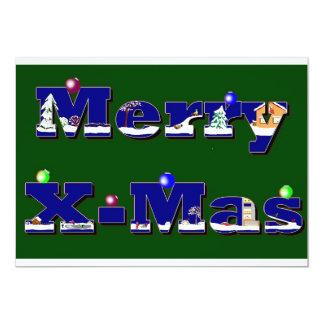 "Merry X-Mas verde Invitación 5"" X 7"""