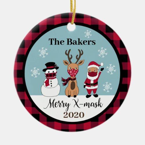 Merry X_Mask Funny Buffalo Plaid Check Santa 2020 Ceramic Ornament