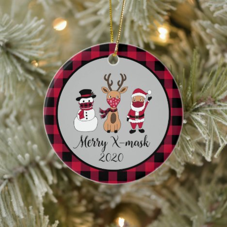 Merry X-Mask Funny Buffalo Plaid Santa 2020 Cerami Ceramic Ornament