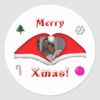 Merry Xmas a photo in a heart shaped Xmas-hats Classic Round Sticker