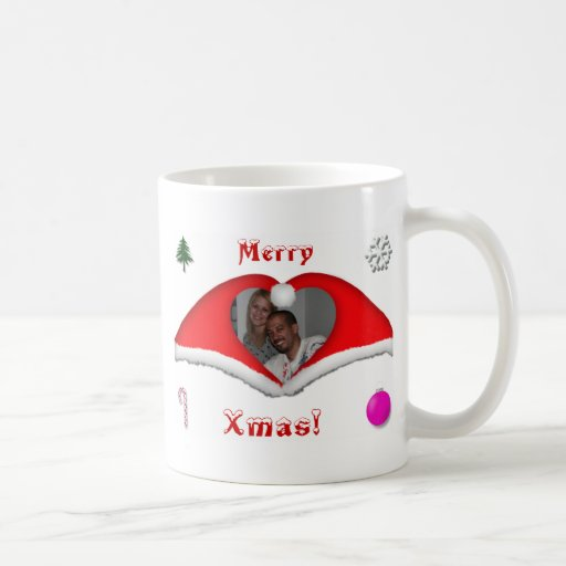 Merry Xmas a photo in a heart shaped Xmas-hats Coffee Mug
