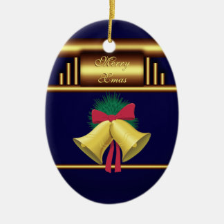 Merry Xmas Bells on Brass and Blue Ceramic Ornament