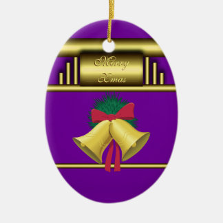 Merry Xmas Bells on Gold and Purple Ceramic Ornament