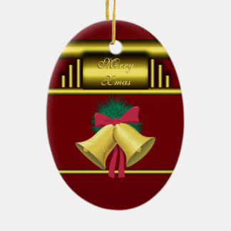 Merry Xmas Bells on Gold and Red Ceramic Ornament