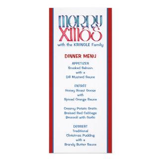Merry X'mas blue Christmas Dinner Menu Card