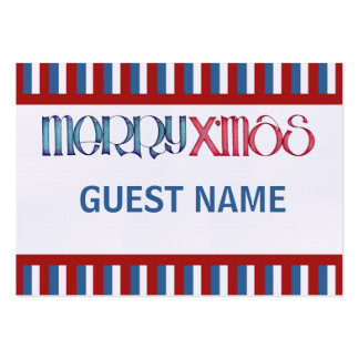 Merry X'mas blue Dinner Place Card Large Business Cards (Pack Of 100)